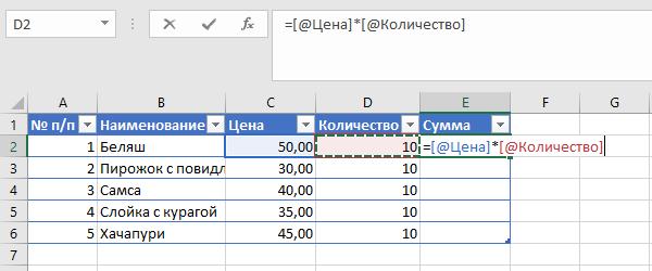 Запись формулы в ячейку «Умной таблицы»