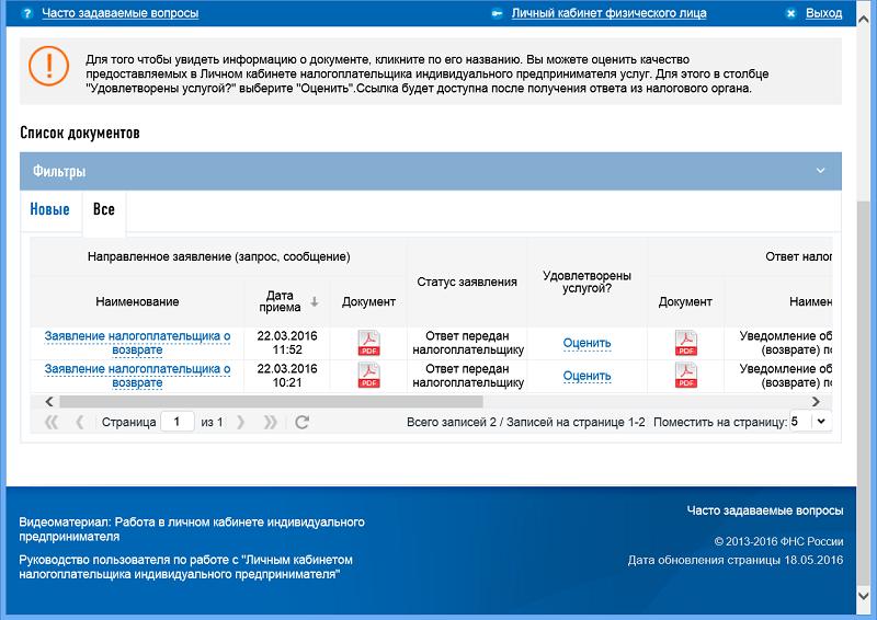 Личный кабинет ФНС - список документов