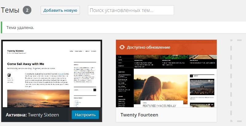 Лишняя тема WordPress удалена