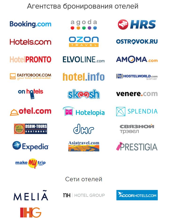 Список основных партнеров сервиса Hotellook