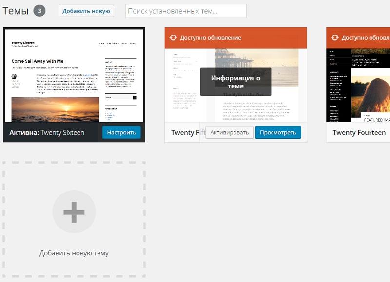 Выбор информации о теме WordPress