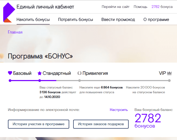 Страница программы «Бонус» на сайте Ростелекома
