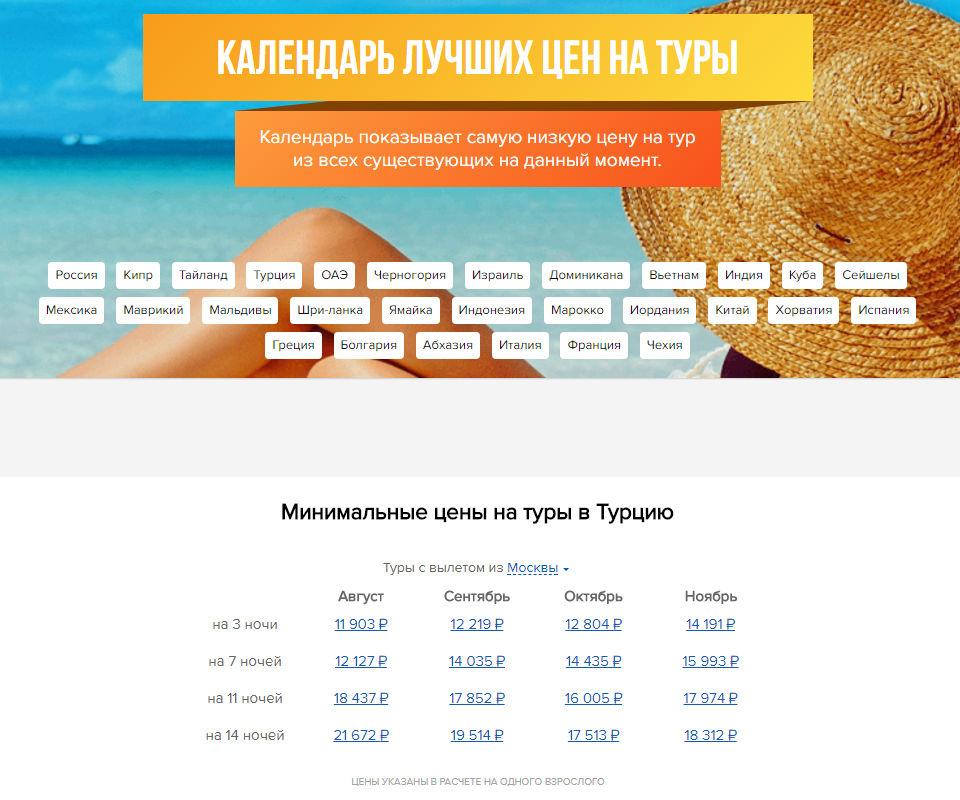 Скриншот Календаря лучших цен на сайте Level.Travel