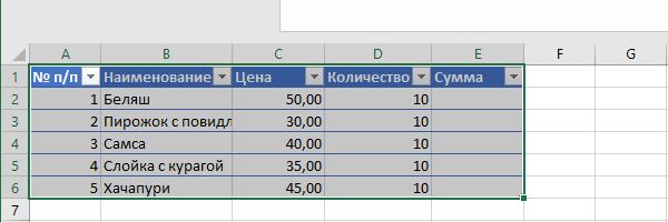 Пример «Умной таблицы»
