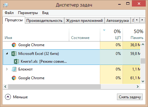 Окно диспетчера задач Windows