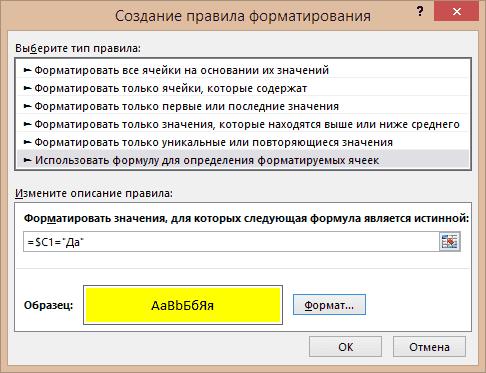 Пример создания правил форматирования №3