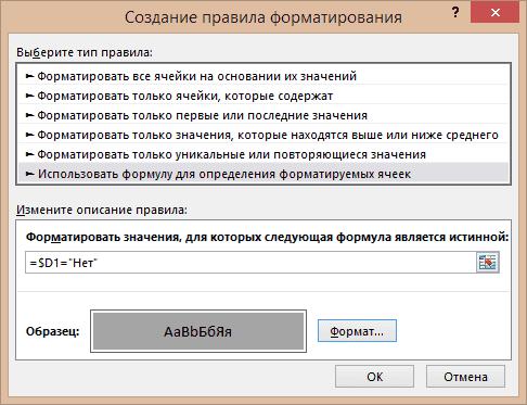 Пример создания правил форматирования №4