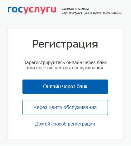 Выбор способа регистрации на портале Госуслуг